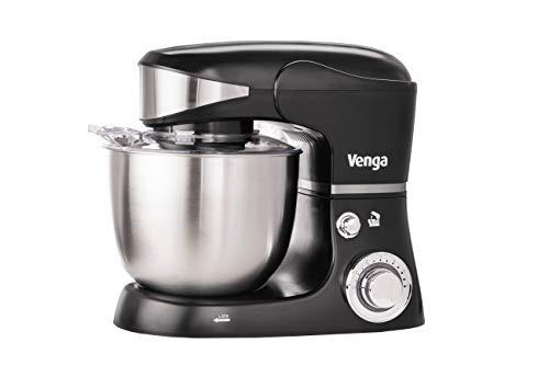 Venga! VG M 3014 Küchenmaschine mit Rührschüssel - 1000W Motor, Kunststoff, Edelstahl, 5L, Schwarz
