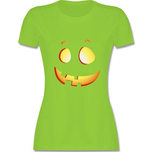 Shirtracer Halloween - Süßer Halloween-Kuerbis Kinder - Damen T-Shirt Rundhals Hellgrün