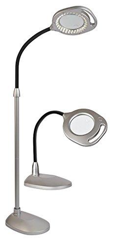 OttLite 43828C-EURP 2-in-1 LED-Standleuchte/Tischleuchte, silberfarben -