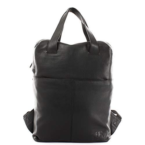LECONI Rucksack Lederrucksack für Frauen und Männer DIN A4 Freizeitrucksack modern aus Nappaleder Rindsleder Damen Herren Leder 31x40x15cm schwarz LE1020-nap