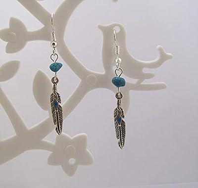"""Boucles d'oreilles""""esprit Amérindien, Collection Feather, plumes argent et turquoise"""