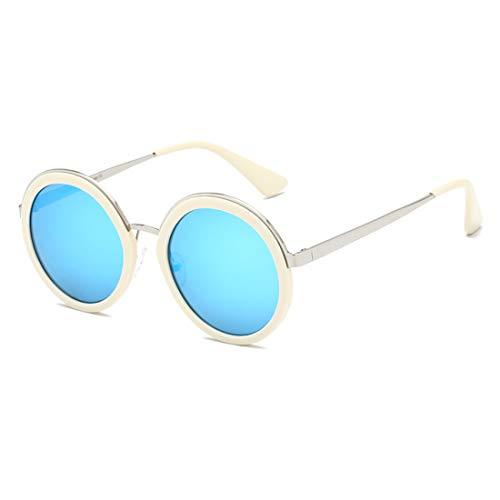 Yiph-Sunglass Sonnenbrillen Mode UV-Schutz Outdoor Travelling Womens Exquisite runde Form Vollformat-Sonnenbrille (Farbe : Rice White Ice Blue)
