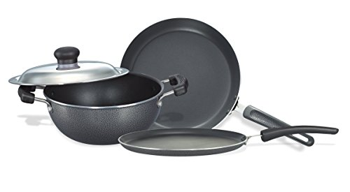 Prestige Omega Select Plus Non-Stick BYK Set, 3-Pieces,Black/Silver