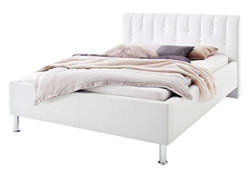 sette notti Polsterbett Bett 180x200 Weiß, Bett mit Strasssteinen, Bett mit echten Swarovski Steinen, Kunstleder- Bett mit Liegefläche 180x200 cm, Rapido Art Nr. 1333-10-5000