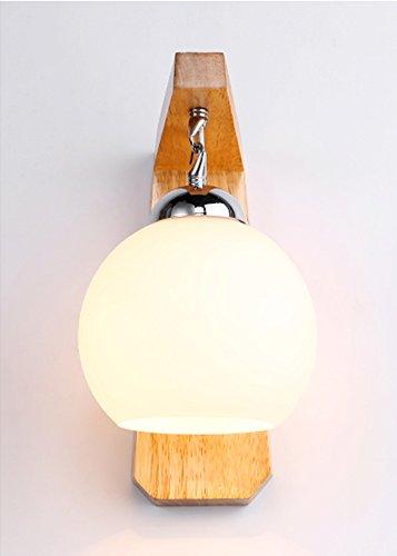 HOHE SHOP/Abat-jour en verre de style nordique Lampe murale de chevet de chambre en bois simple et élégant en bois