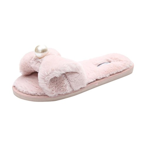 Rawdah Claquette Femme Glissez sur Les Diapositives Fluffy en Fausse Fourrure Plat Slipper Flip Flop Sandal Tongs Chaussures (35 EU, Rose)