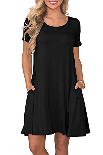 Sommerkleid Damen Casual Lose Kurzarm T-Shirt Kleider Elegant Plain Strand Kleider mit Taschen Plain Schwarz Large