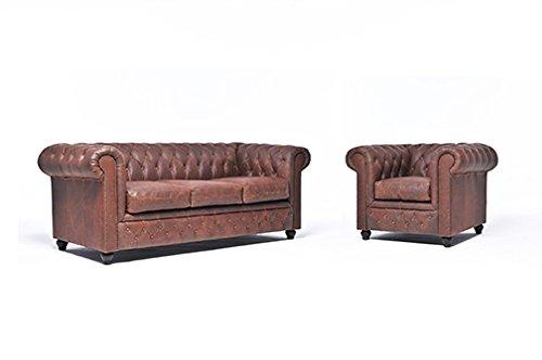 Original Chesterfield Sofa und Sessel – 1 / 3 Sitzer – Vollständig Handgewaschenes Leder – Vintage Braun