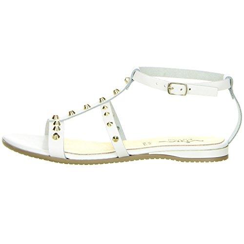 Vista Damen Römersandaletten Nieten weiß Weiß