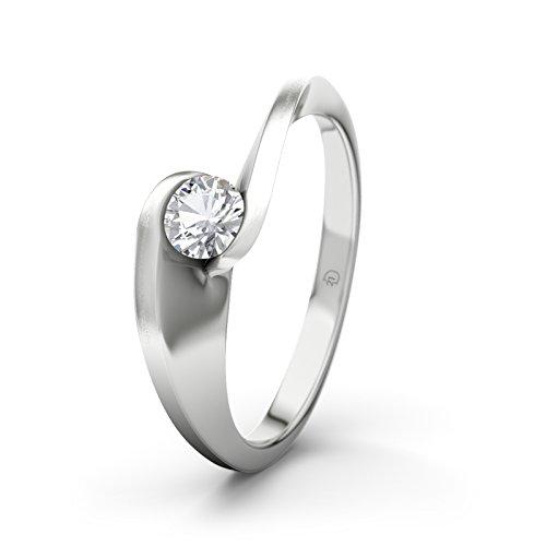 Damen-Ring Verlobungsring Phoebe 21Premium mit Zirkonia Brillantschliff, 9 Karat (375) Weißgold Gr.60 (19.1) Verlobungsringe, 21Diamonds (Phoebe Stein)