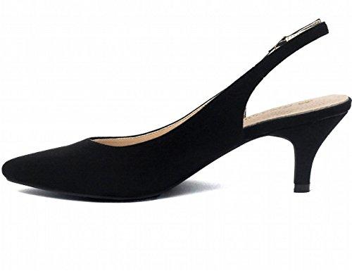 Greatonu Women's Pointed Toe Slingback Dress Court Shoes, Black – 6 UK