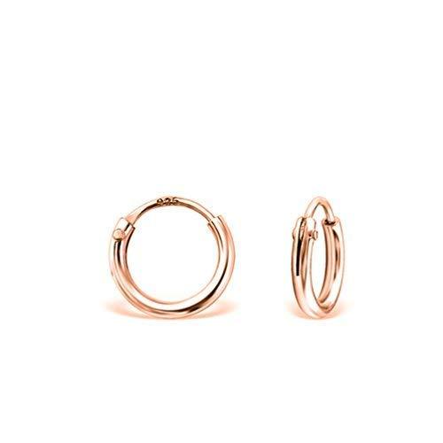 DTPsilver - Damen - Klein Creolen - Ohrringe 925 Sterling Silber Rosen-Gold überzogen - Dicke 1.2 mm - Durchmesser 8 mm
