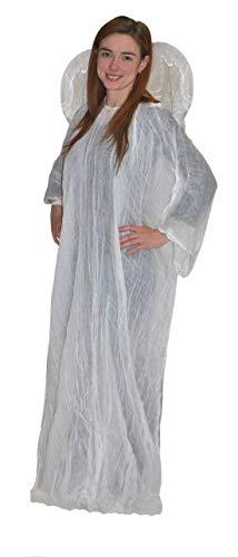 (Luxuspiraten - Damen Frauen Kostüm simples Engel-Kleid, Angel Robe, perfekt für Halloween Karneval und Fasching, One Size, Weiß)