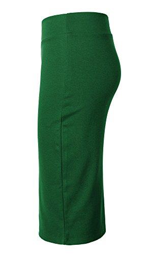 Damen Midi Rock Stretch Figurbetont Business Bleistift Röcke Smaragdgrün