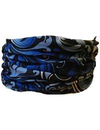 Multifunction Neckwarmer, Snood, Hat, Scarf and Hood in Blue floral print by Monogram