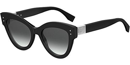Fendi ff 0266/s 9o 807, occhiali da sole donna, nero (black/grey), 52