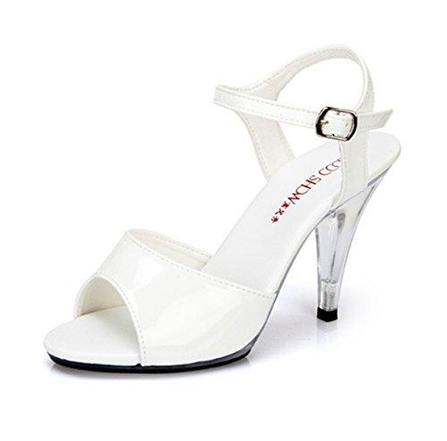Damen Sandalen mit High Heels Stiletto Schnalle Anti-Rutsch Klassische Bequeme Lässige Damen Sandalen Weiß