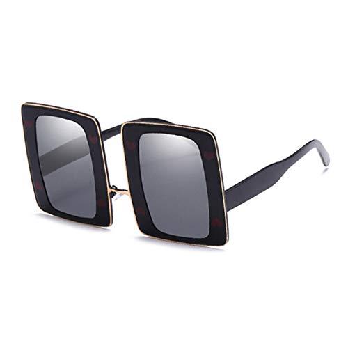 Siwen Neue Übergröße Dicke Metallrahmen Poker Sonnenbrille Liebe Dekoration Mode Frauen Rechteck Sonnenbrille,Goldenes Schwarzes