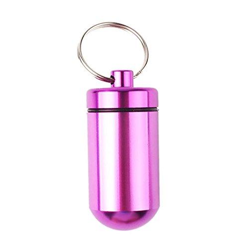 calistouk 1Stück Medikamentendosierer Pillenbox Tablettendose Tablettenbox Pillendose aus Aluminium Fall Medizin Flasche Halter rose