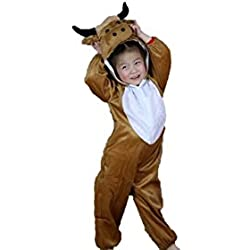 Niños Disfraces de animales Niños Niñas Unisex Disfraces cosplay Niños onesie (Toro, M (Para niños de 90 a 105 cm de altura))