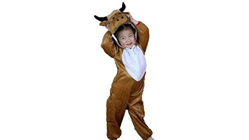 Jungen Mädchen Unisex Kostüm Outfit Cosplay Kinder Strampelanzug (Stier, XL (Für Kinder von 120 bis 140 cm)) (Lustige Halloween-kostüme Für Drei Mädchen)