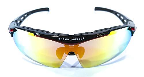 Brown Labrador Polarisierte Radsportbrille + REVO, 5 UV 400 Wechselgläser, Sportbrillen, Lauftraining, BTT, Triathlon, Herren und Damen (Rot)