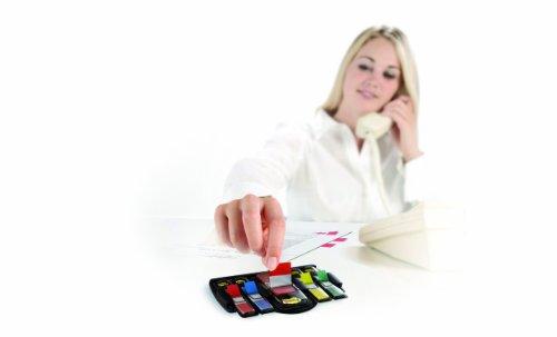Post-it - Soporte para dispensadores de banderitas separadoras (incluye dispensador rojo de 25 mm, amarillo, verde, rojo y azul de 12 mm)