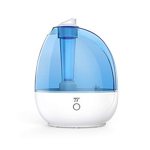 TaoTronics Humidificador ultrasónico 2L para Dormitorio, habitación de bebé, Libre de BPA, Vapor Frío, 3 Modos de Vapor, Mode de Sueño, Ahorro de Espacio, Boquilla 360º girable, Silencioso, Cool Mist