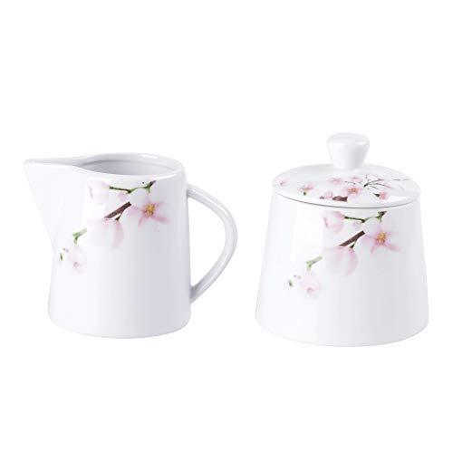 VEWEET, Serie 'Annie' 2-teilig Porzellan Milchkanne und Zuckerdose Set, 180 ml Milchkgießer und 250 ml Zuckerbehälter, Ideal für Kaffeeservice und Küche | Ergänzung zum Tafelservice 'Annie'