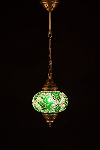 Handmade Turkish Lamp Moroccan Ottoman Style Mosaic Oval Mosaic Hanging Lamp Single Chain Lights Home Bedroom Restaurant Cafe Decoration Light Size 3 Green Star