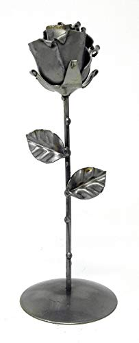 """♥ Eternal Rose Hand-Forged Wrought Iron with Base """"Ideal gift for Valentine's Day, Girlfriend, Mother's Day, Couple, Marriage, Birthday, Christmas, Wedding Day, Anniversary Gift, Decor, Indoor"""" by Forging Art Bcn"""