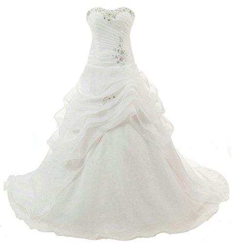 Vantexi Trägerlos Kristall Organza Brautkleid Hochzeitskleider Elfenbein Größe 38