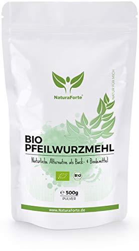 NaturaForte Bio Pfeilwurzmehl 500g, Starkes Bindemittel und Ei Ersatz, Pfeilwurzelmehl perfekt zum Backen und Binden, Vegan, Geschmacksneutral, Abgefüllt und kontrolliert in Deutschland