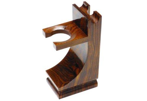 Starlingukpk Support en bois de qualité pour rasoir et blaireau Fini noyer