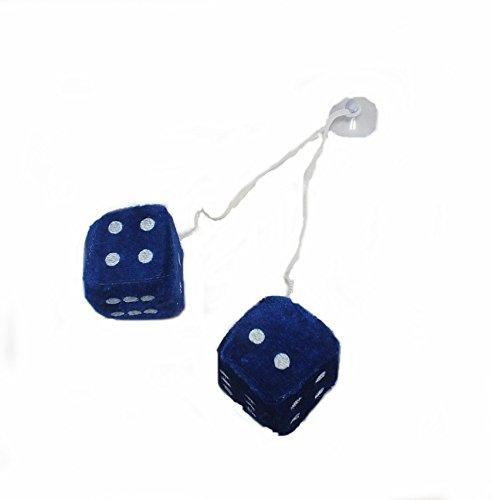 Plüschwürfel/Auto Plüsch Würfel/Autowürfel/Fuzzy Dice - blau - Größe: 4x4cm - 1 Paar (2 Stück) (Für Auto Fuzzy Dice Blau)