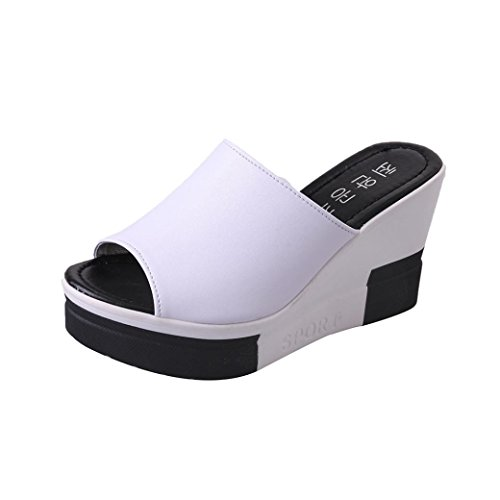 FNKDOR Damen Clogs Flipflops Zehentrenner Peep-Toe Schuhe Keilabsatz Sandalen(39,Weiß) (Schuhe Leopard Toe Peep)