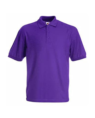 FRUIT OF THE LOOM CHILDRENS UNISEX PIQUE POLO SHIRT - 12 COLOURS (AGE - 3/4, PURPLE)
