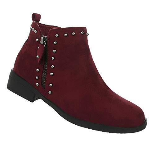 Damen Schuhe Stiefeletten Flache Stiefel Blockabsatz Ankle Boots Kurze Booties Weinrot 38