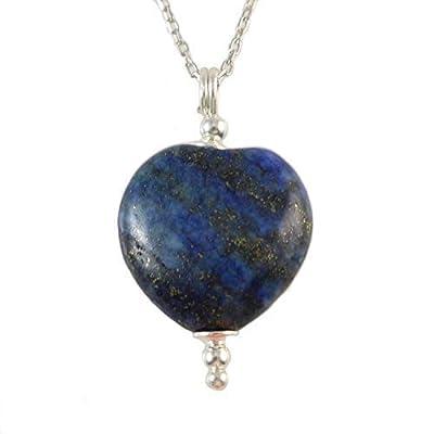 Collier pendentif en forme de coeur de pierres précieuses en lapis-lazuli avec pierres naturelles en argent sterling 925 pour femme, chaîne 40 + 5 cm