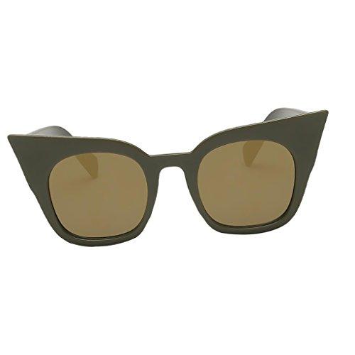 D DOLITY Sonnenbrille Uv400 Cat Eye Retro Look Brille Pilotenbrille Vintage Sonnenbrille 7 verschiedene Farben - Grünes Rahmen-Gold-Objektiv, wie beschrieben
