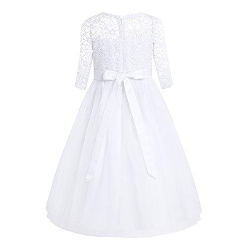 Freebily Blumenmädchenkleid Mädchen Spitze Prinzessin Kleid Festliche Kleidung für Hochzeit Festzug Party Halbarm Brautjungfer Kleid Kommunionskleid Weiß 140/10 Jahre