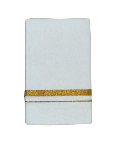 ARS Men's Cotton Double Dhoti With Golden Border 4 Meter Free Size...