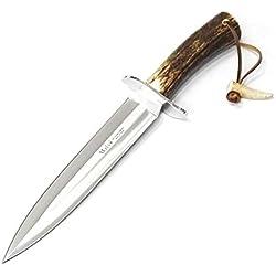 Muela Cuchillo de Caza Vikingo VIKINGO-23A con Hoja de Acero Inoxidable MoVa de 23 cm y empuñadura de asta de Ciervo de 13,5 cm para Caza, Pesca, Supervivencia y Bushcraft + Portabotellas de Regalo