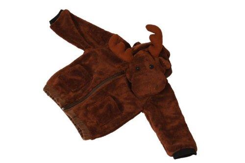 Foxxeo 11008-STD   Deluxe Elch Jacke für Kinder Elchjacke Kinderjacke Plüsch braune Weste Tierjacke Tier Tiere Kind Kinder braun Kapuze Kapuzenjacke Gr. 116