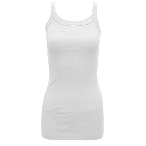 V99 NEW WOMENS LADIES SLEEVELESS STRETCH VEST LONG TEE TOP IN SIZE 06-14 (M/L (UK 12-14), WHITE)