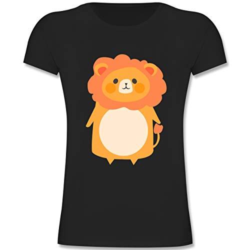 Karneval & Fasching Kinder - Fasching Kostüm Löwe - 164 (14-15 Jahre) - Schwarz - F131K - Mädchen Kinder T-Shirt (Kostüm Neugeborene Lion)