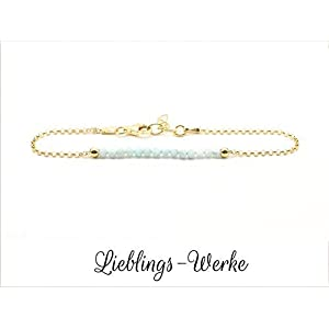 Armband mit Larimar Sterlingsilber vergoldet/Larimararmband/Armband vergoldet/Armband gold/zartes Armband/Geschenkideen…