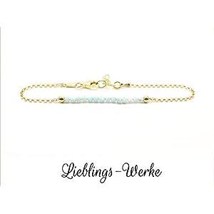 Armband mit Larimar Sterlingsilber vergoldet/Larimararmband/Armband vergoldet/Armband gold/zartes Armband/Geschenkideen/filigraner Schmuck