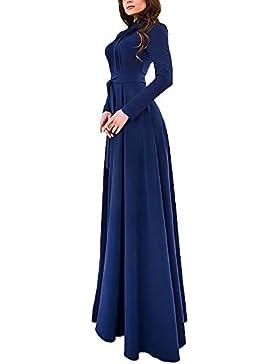 Donna Vestiti Cerimonia Autunno Invernali Vestitini Elegante Giovane Abito  Slim Fit Manica Lunga Abiti Puro Colore 5dc916a0f6b