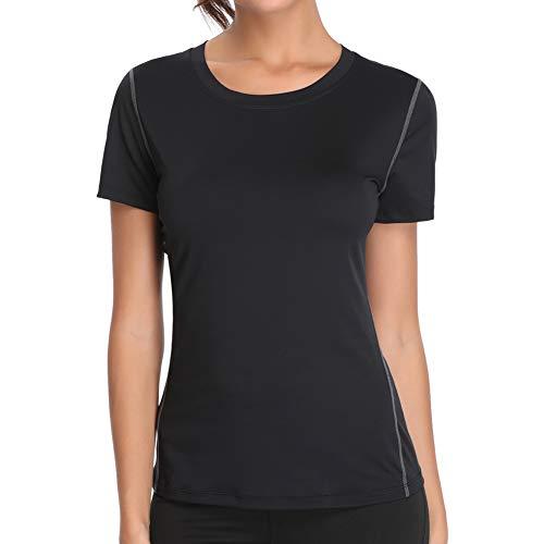 Joyshaper Sport T-Shirt Damen Shortsleeve Top Kurzarm Oberteile für Joggen, Fitness, Yoga oder Alltägliche Bekleidung, Schwarz, XXL